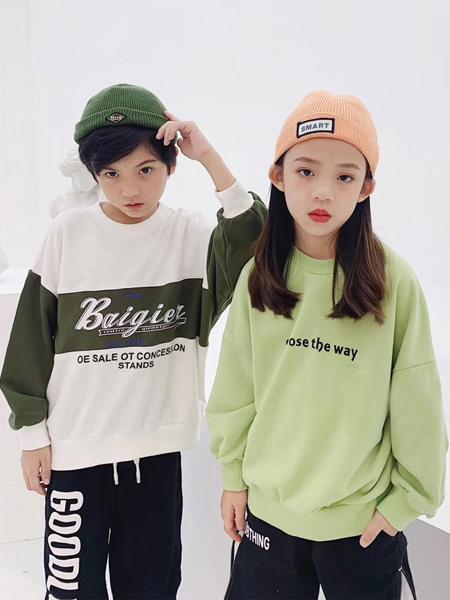 世纪童话童装品牌2020冬季绿色休闲慵懒风卫衣