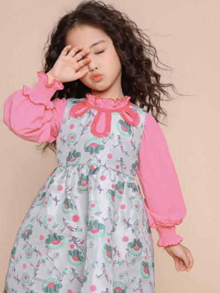 世纪童话童装品牌2020冬季木耳边领口袖口灯笼袖可爱连衣裙