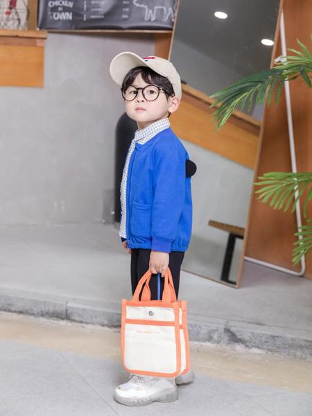缝纫机小队长童装品牌2020冬季蓝色帅气松紧下摆针织外套
