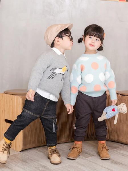 缝纫机小队长童装品牌2020冬季灰色小马图案色织套头针织毛衣