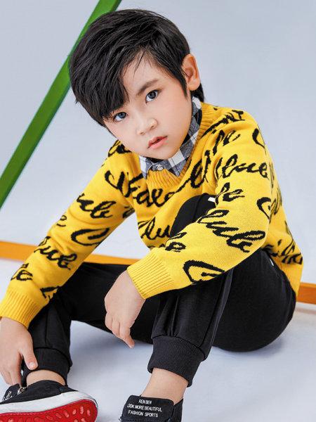 海威迩童装品牌2020冬季黄色活力休闲针织衫
