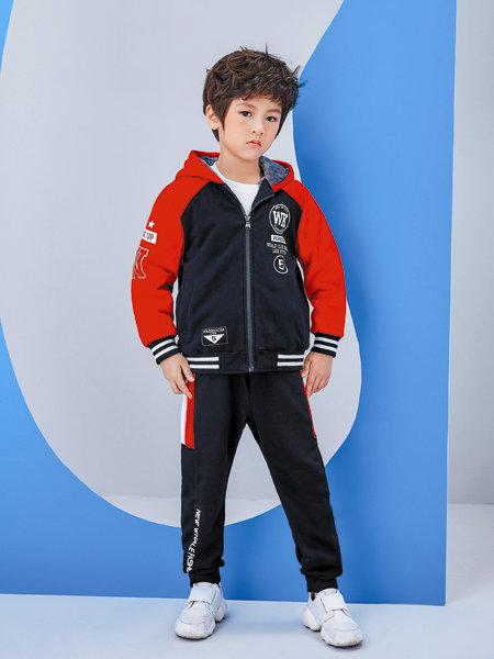 海威迩童装品牌2020冬季经典红蓝撞色连帽保暖卫衣外套