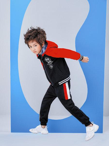 海威迩童装品牌2020冬季经典红白黑配色休闲运动裤