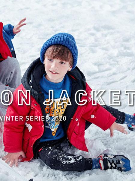 以纯童装品牌2020冬季红色连帽中长款保暖羽绒服
