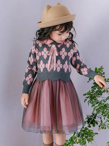 早言童装品牌2020冬季粉色甜美公主名媛风套装