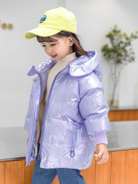 西瓜王子童装品牌2020冬季优雅神秘极光偏光紫色羽绒服