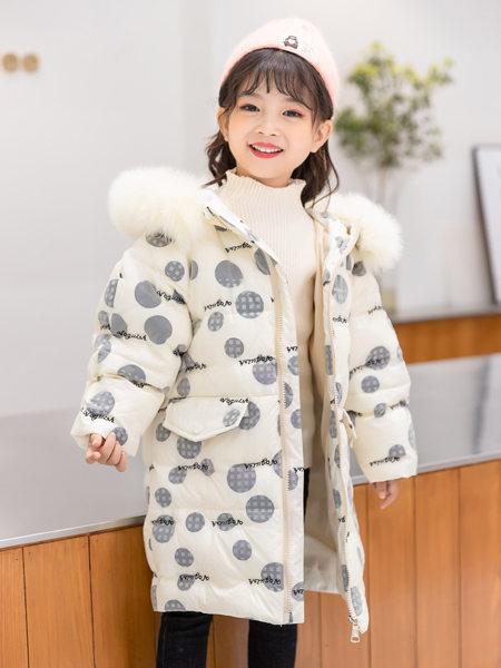 西瓜王子童装品牌2020冬季白色圆点OVERSIZE羽绒服