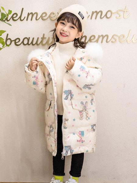 西瓜王子童装品牌2020冬季白色可爱卡通印花长款羽绒服