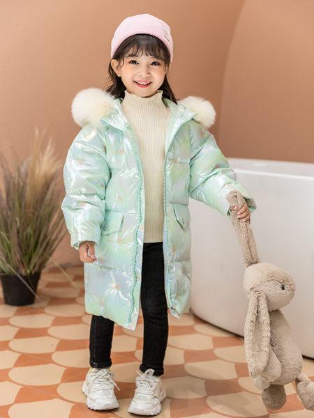 西瓜王子童装品牌2020冬季薄荷绿色清新简约羽绒服