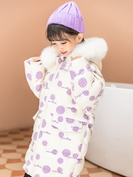 西瓜王子童装品牌2020冬季紫色圆点连帽保暖羽绒服