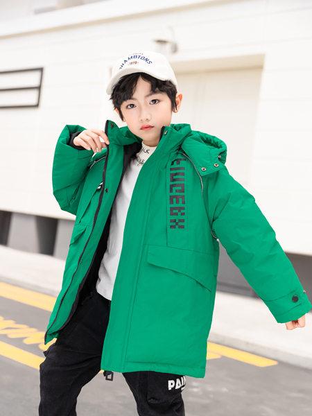 西瓜王子童装品牌2020冬季绿色连帽中长款羽绒服