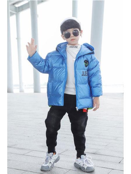 123童装童装品牌2020冬季蓝色简约百搭羽绒夹克