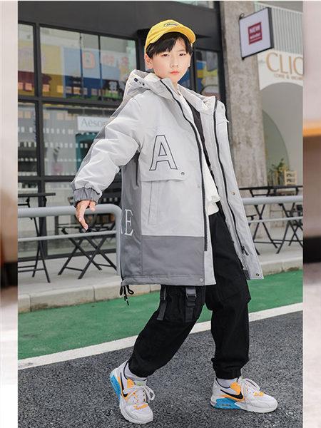 123童�b童�b品牌2020冬季灰色�W系INS�L中�L款外套