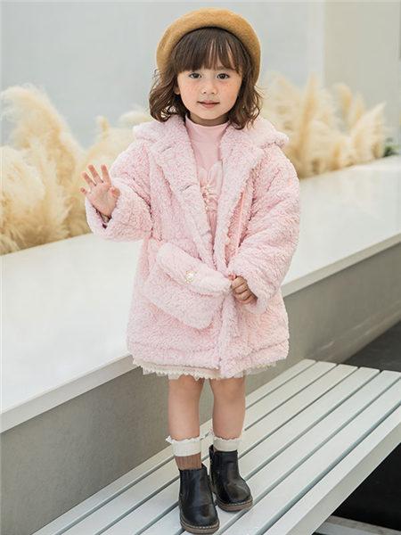 123童装童装品牌2020冬季粉色公主风羊羔绒外套