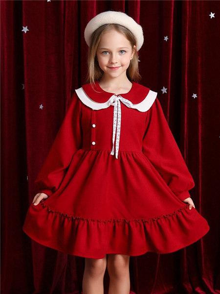 Disney/MarkandSpencer/永丽公主童装品牌2020冬季红色韩版学院风连衣裙
