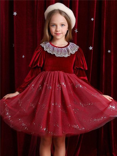 Disney/MarkandSpencer/永丽公主童装品牌2020冬季复古宫廷风红色连衣裙