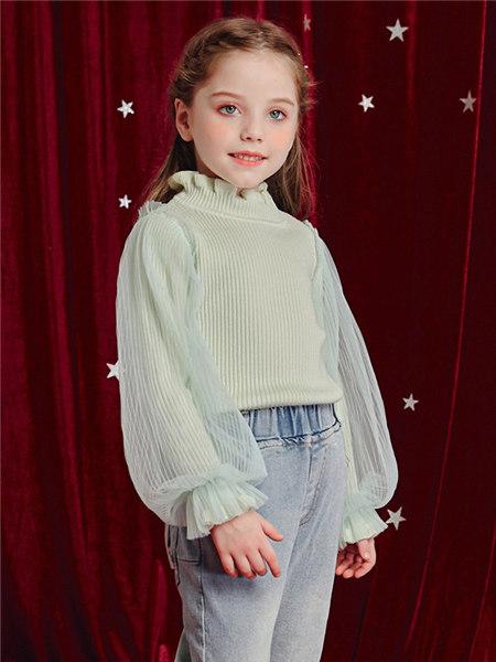 Disney/MarkandSpencer/永丽公主童装品牌2020冬季浅绿色木耳边泡泡袖针织衫