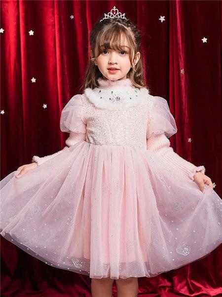 Disney/MarkandSpencer/永丽公主童装品牌2020冬季粉色亮片优雅连衣裙