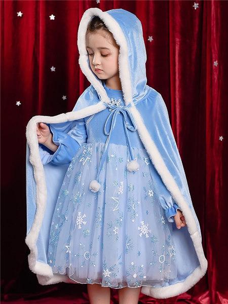 Disney/MarkandSpencer/永丽公主童装品牌2020冬季蓝色金丝绒保暖防风披风
