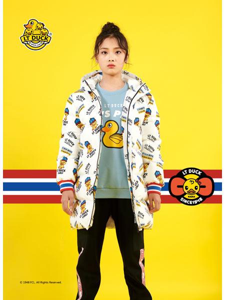 LT DUCL小黄鸭童装品牌2020冬季印花中长外套新品