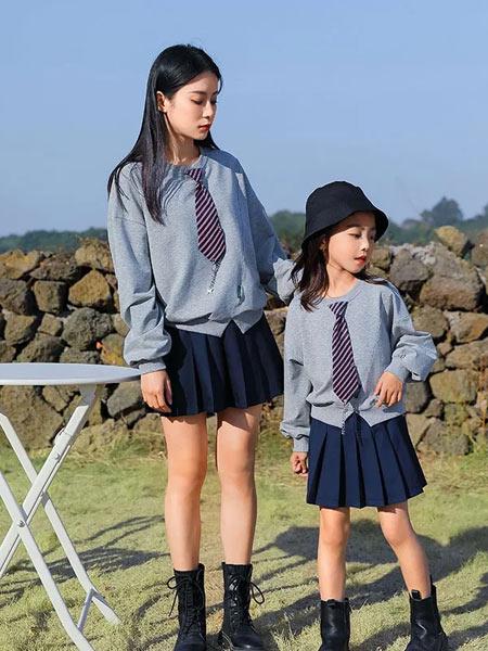 思贝秀童装品牌2021春夏亲子系列拼接假领二件套