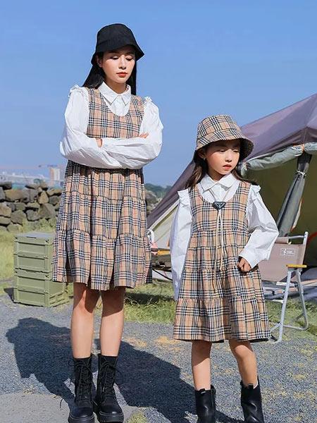 思贝秀童装品牌2021春夏亲子系列二件套背带裙