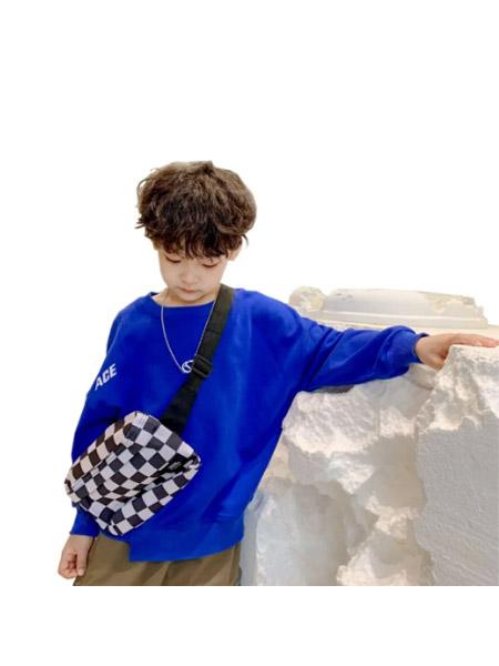 糖麦卡童装品牌2021春夏潮童绅士蓝色休闲服