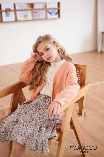 MOMOCO童装品牌2021春夏粉色开衫毛衣