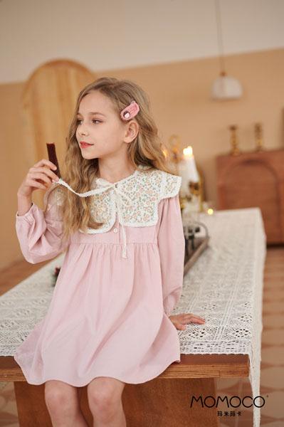 MOMOCO童装品牌2021春夏娃娃领公主裙