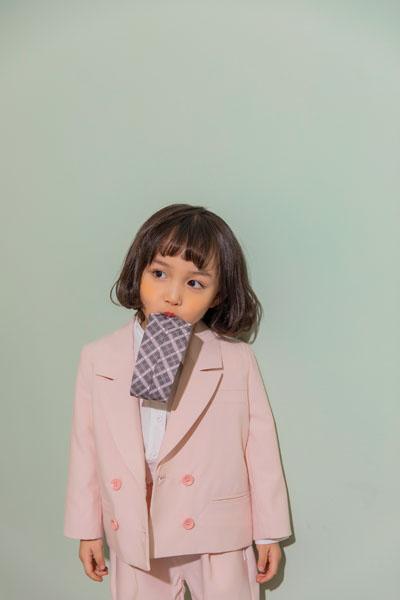 蒂萨纳D`sana童装品牌2021春夏粉色双扣西装