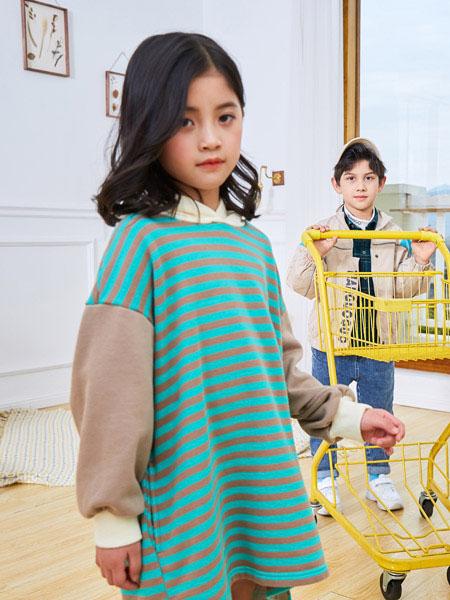田果果童装品牌2021春夏条纹卫衣