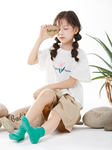 巴迪小虎BaDi Tiger童装品牌2021春夏森系白色上衣