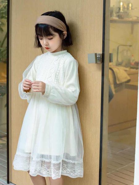 童年永恒童装品牌2021春夏圆领雪纺长裙