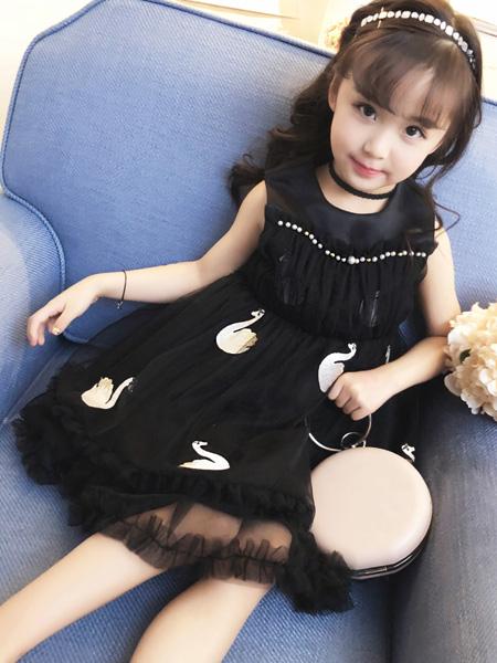 宾果童话童装品牌2021春夏黑色无袖网纱裙