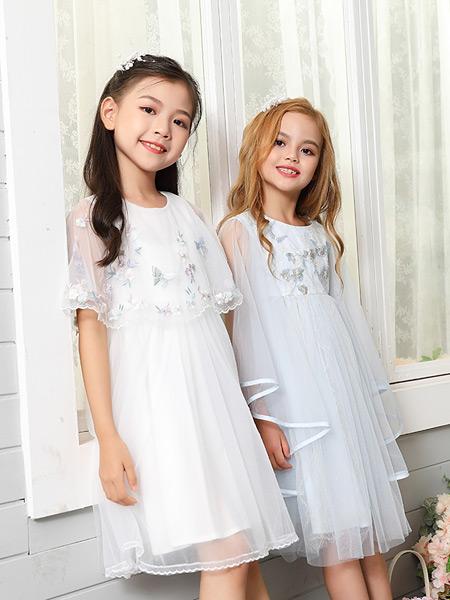 可趣可奇童装品牌2021春夏雪纺披肩长裙