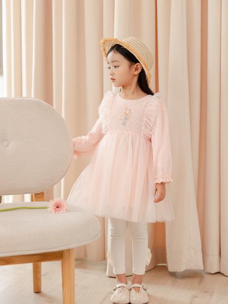 德蒙斯特童装品牌2021春夏粉色蓬松网纱裙