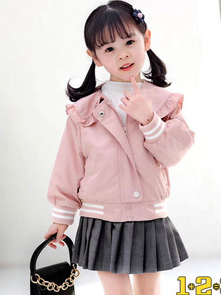 123童装童装品牌2021春夏粉色外套
