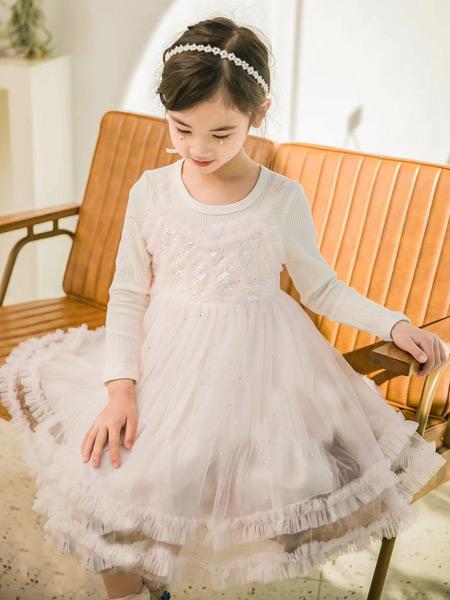 123童装童装品牌2021春夏纯色雪纺裙