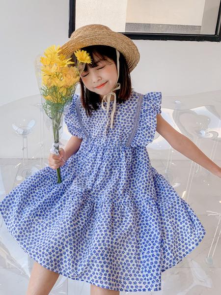 糖麦卡童装品牌2021春夏蓝色波点连衣裙