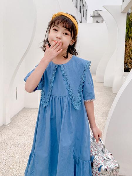 糖麦卡童装品牌2021春夏蓝色连衣裙