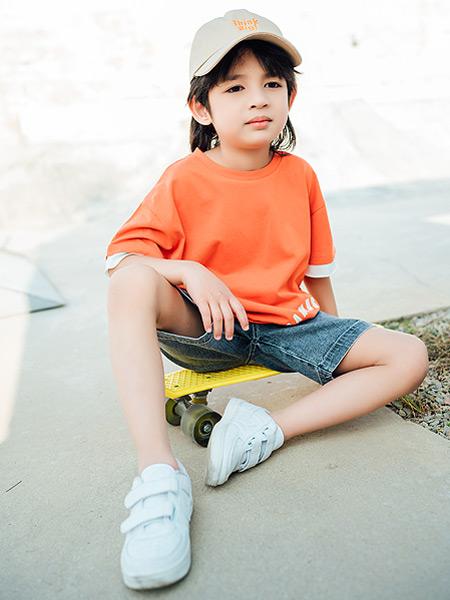 迪士汤姆童装品牌2021春夏橙色简单T恤