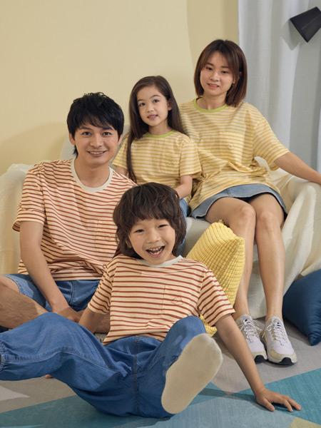 Moomoo童装品牌2021春夏条纹上衣家庭装