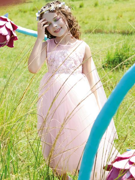铅笔俱乐部童装品牌2021春夏粉色长裙