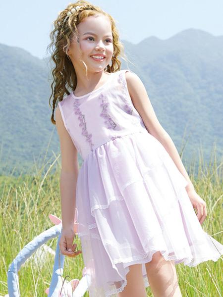铅笔俱乐部童装品牌2021春夏无袖紫色连衣裙