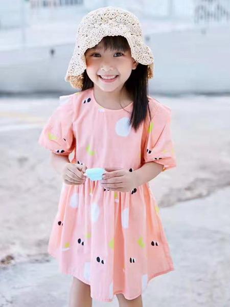 妙优童装品牌2021春夏甜美中袖连衣裙