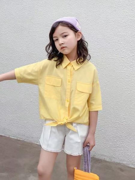 妙优童装品牌2021春夏黄色衬衫