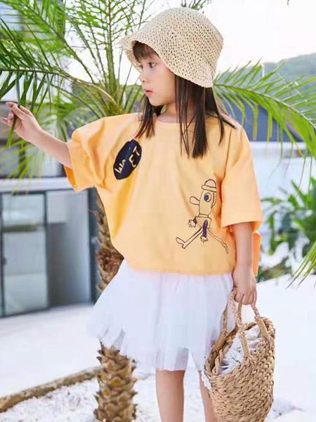 妙优童装品牌2021春夏橙黄色慵懒中袖上衣