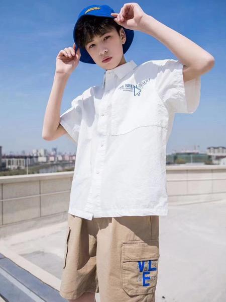 妙优童装品牌2021春夏纯色翻领衬衫