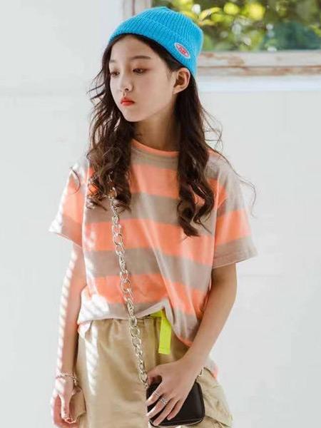 妙优童装品牌2021春夏条纹中袖外衣