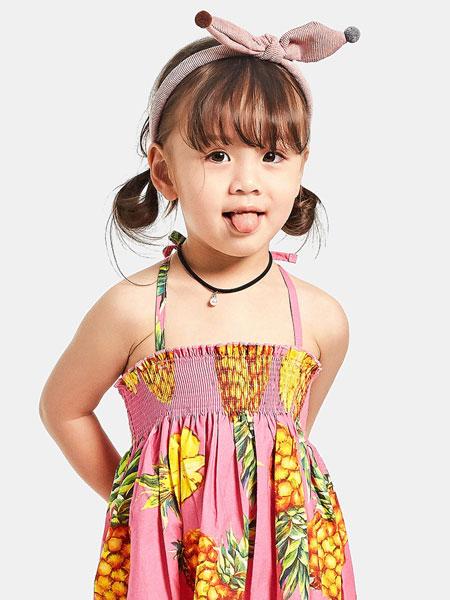 宾果童话童装品牌2021春夏菠萝图案吊带裙